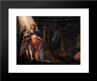 Christ In The Garden Of Gethsemane: Modern Black Framed Art Print by Paolo Veronese