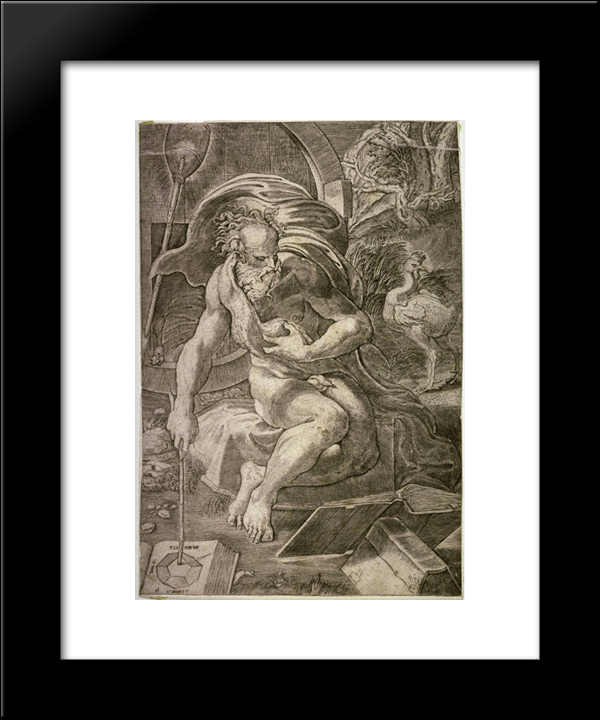 Diogenes: Modern Black Framed Art Print by Parmigianino