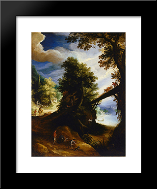A Wooded Landscape With A Bridge And Sportsmen At The Edge Of The River: Modern Black Framed Art Print by Paul Bril