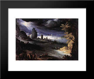 Coastal Landscape: Modern Black Framed Art Print by Paul Bril