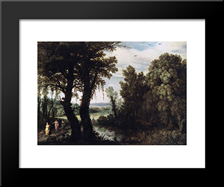 Diana And Her Nymphs At The Hunt: Modern Black Framed Art Print by Paul Bril
