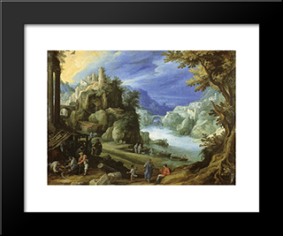 Fantastic Mountain Landscape: Modern Black Framed Art Print by Paul Bril