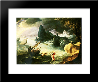 Jesus Walking On The Sea Of Galilee: Modern Black Framed Art Print by Paul Bril