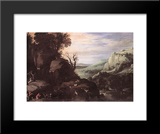 Landscape: Modern Black Framed Art Print by Paul Bril