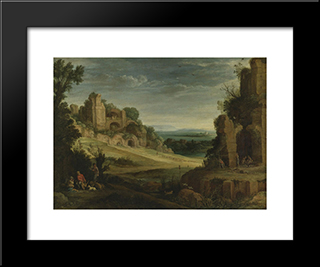 Landscape With A Hunting Party And Roman Ruins: Modern Black Framed Art Print by Paul Bril