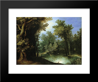 Landscape With A Marsh: Modern Black Framed Art Print by Paul Bril