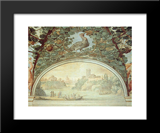 Landscape With Boats On A River: Modern Black Framed Art Print by Paul Bril
