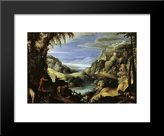 Landscape With Mercury And Argus: Modern Black Framed Art Print by Paul Bril