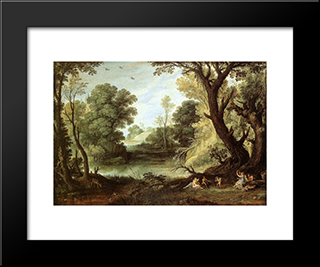 Landscape With Nymphs And Satyrs: Modern Black Framed Art Print by Paul Bril