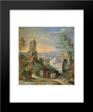 Landscape With Roman Ruins: Modern Black Framed Art Print by Paul Bril