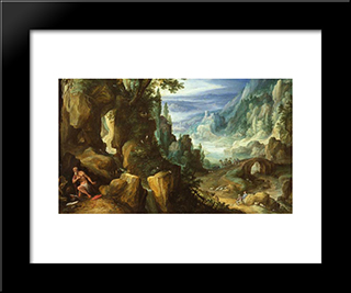 Landscape With St. Jerome And Rocky Crag: Modern Black Framed Art Print by Paul Bril