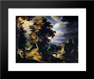 Landscape With Stag Hunt: Modern Black Framed Art Print by Paul Bril