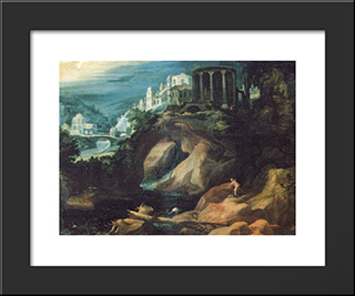 Landschaft Mit Sibyllentempel: Modern Black Framed Art Print by Paul Bril