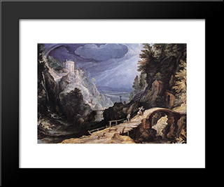 Mountain Scene: Modern Black Framed Art Print by Paul Bril