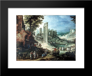 Romische Ruinenlandschaft: Modern Black Framed Art Print by Paul Bril