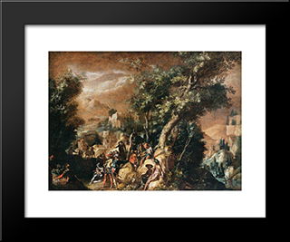 Ruins And Figures: Modern Black Framed Art Print by Paul Bril