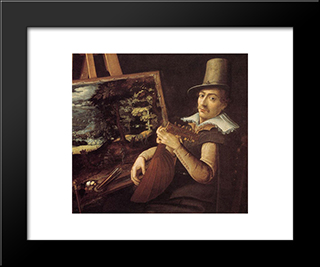 Self-Portrait: Modern Black Framed Art Print by Paul Bril