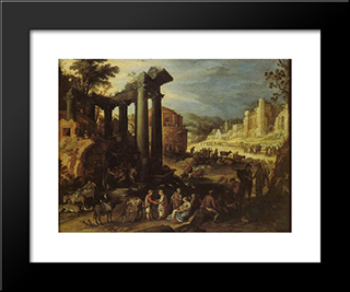 The Campo Vaccino With A Gypsy Woman Reading A Palm: Modern Black Framed Art Print by Paul Bril