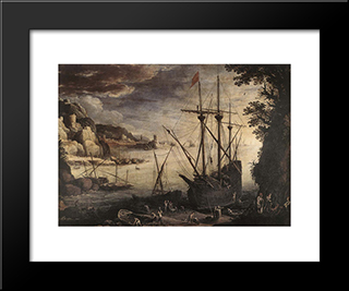 The Port: Modern Black Framed Art Print by Paul Bril