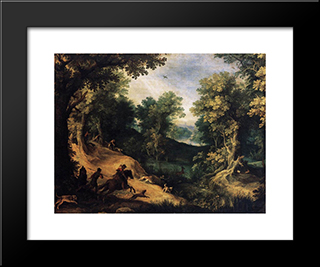 The Stag Hunt: Modern Black Framed Art Print by Paul Bril