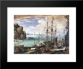 View Of A Port: Modern Black Framed Art Print by Paul Bril