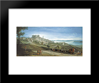 View Of Bracciano: Modern Black Framed Art Print by Paul Bril