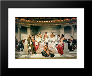Hemicycle (Central Section): Modern Black Framed Art Print by Paul Delaroche
