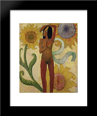 Caribbean Woman, Or Female Nude With Sunflowers: Modern Black Framed Art Print by Paul Gauguin