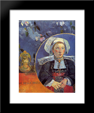 The Beautiful Angel (Madame Angele Satre, The Innkeeper At Pont-Aven): Modern Black Framed Art Print by Paul Gauguin