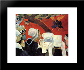 The Vision After The Sermon (Jacob Wrestling With The Angel): Modern Black Framed Art Print by Paul Gauguin