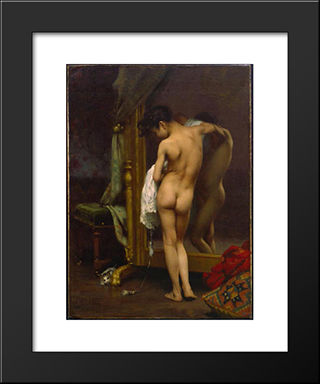 A Venetian Bather: Modern Black Framed Art Print by Paul Peel