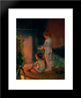 After The Bath: Modern Black Framed Art Print by Paul Peel