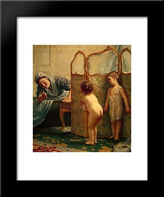 Before The Bath: Modern Black Framed Art Print by Paul Peel