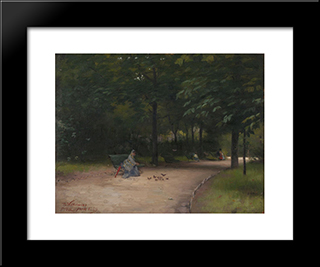 Feeding Birds In The Park: Modern Black Framed Art Print by Paul Peel