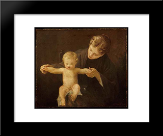 Mother And Child: Modern Black Framed Art Print by Paul Peel