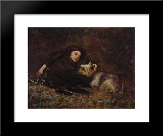 Nap Time (Also Known As Young Girl With Terrier): Modern Black Framed Art Print by Paul Peel
