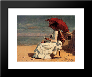The Beach In Normandy (Also Known As Good News): Modern Black Framed Art Print by Paul Peel