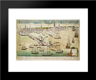 Landing Of Troops: Modern Black Framed Art Print by Paul Revere