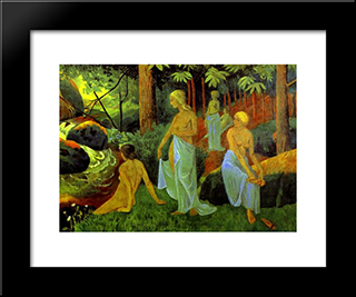 Bathers With White Veils: Modern Black Framed Art Print by Paul Serusier