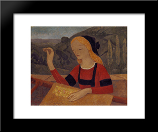 Embroiderer In A Landscape Of Chateauneuf: Modern Black Framed Art Print by Paul Serusier