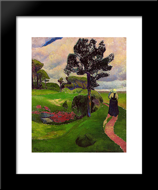 Mother And Child On A Breton Landscape: Modern Black Framed Art Print by Paul Serusier