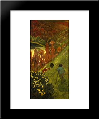 Shepherd In The Valley Of Chateauneuf: Modern Black Framed Art Print by Paul Serusier