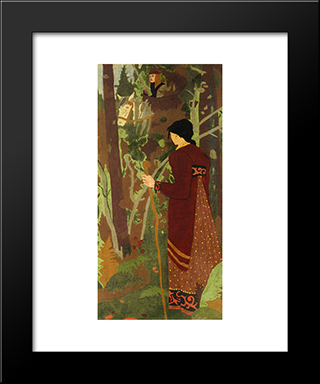 The Fairy And The Knight: Modern Black Framed Art Print by Paul Serusier