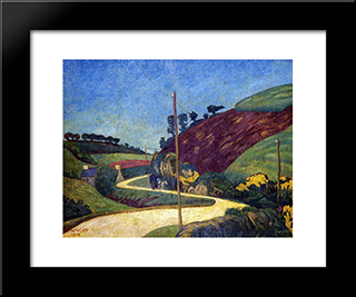 The Stagecoach Road In The Country With A Cart: Modern Black Framed Art Print by Paul Serusier