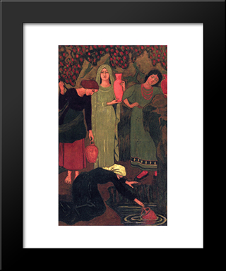 The Wait At The Well: Modern Black Framed Art Print by Paul Serusier