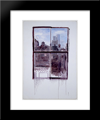 Untitled (Cityscape With Twin Towers): Modern Black Framed Art Print by Paul Thek