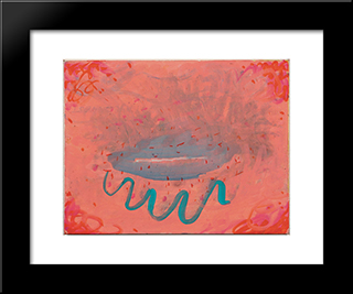 Untitled (Lips With Turquoise): Modern Black Framed Art Print by Paul Thek