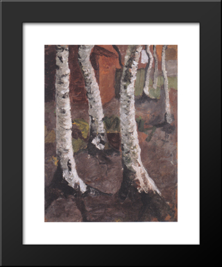 Birch Trunks In Front Of Red Farmstead: Modern Black Framed Art Print by Paula Modersohn Becker