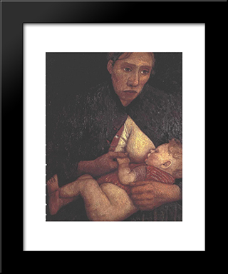 Breast Feeding Mother: Modern Black Framed Art Print by Paula Modersohn Becker
