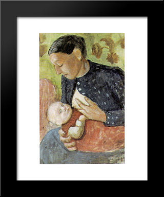 Breastfeeding Mother Of Paula Modersohn-Becker: Modern Black Framed Art Print by Paula Modersohn Becker